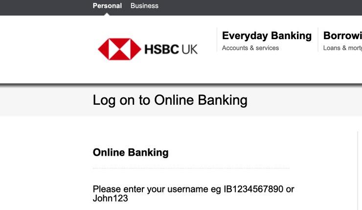 Log On To HSBC Screenshot